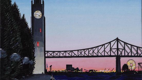 Tour de l'horloge au crépuscule estival