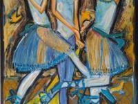 Trio bleu, drapé jaune
