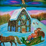 La carriole devant l'église
